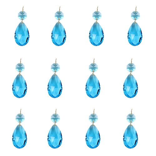 BIHRTC 12Pcs 38mm Galss Crystal Teardrop Chandelier Prisms Parts Hanging Galss Crystal Pendants Beads (Blue) ()