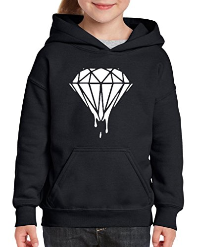 Xekia Melting White Diamond Hoodie For Girls and Boys Youth Kids X-Small Black