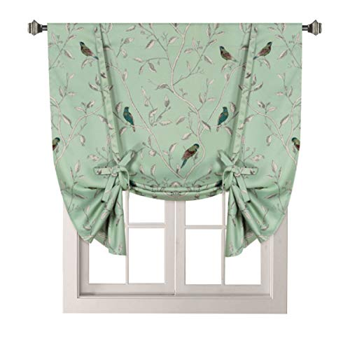 H.VERSAILTEX Thermal Insulated Printed Blackout Small Window Curtain Adjustable Tie Up Shade Rod Pocket Short Curtain for Kitchen - 42 Wide by 63 Long, Sage Birds Pattern