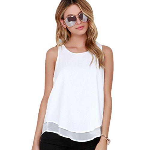 Lisingtool Women's Chiffon T Shirt Casual Blouse Tank Top (Medium)