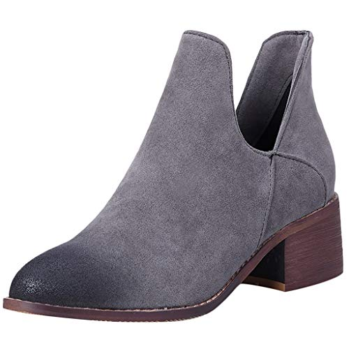 ◕‿◕Watere◕‿◕ Women's Boots,Womens Ankle Booties Low Heel Cut Out Slip-on Pointed Toe Shoes Frosted Booties Gray