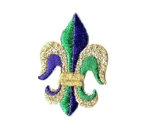 Logo patch embroidered)Fleur de lis - Mardi Gras - Purple/Green/G+ E-book with - A With Logo G Green