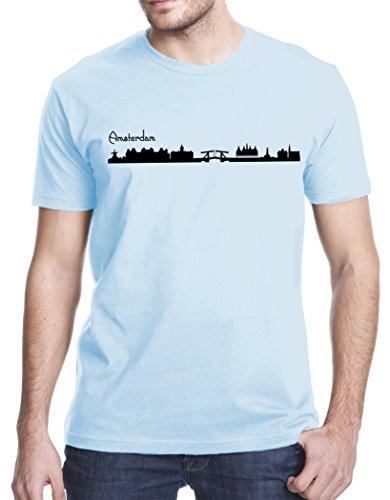 Amsterdam City Skyline T-Shirt, Large, Light Blue