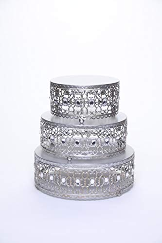 Opulent Treasures Set of 3 Riser Round Metal Cake Stands Clear Bead Decor (Antique Silver) -
