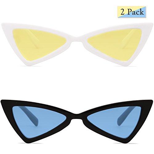 Teinté Bowknot SJ2051 Petit amp; Rétro Femme de Lunettes Soleil Jaune pour Bleu SOJOS Triangle Noir Couleur Blanc High Point C05 wWFv0B0qxn