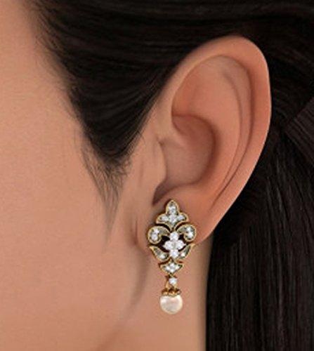 Or jaune 18K 0,55CT TW White-diamond (IJ | SI) et blanc cassé Perle Boucles d'oreilles