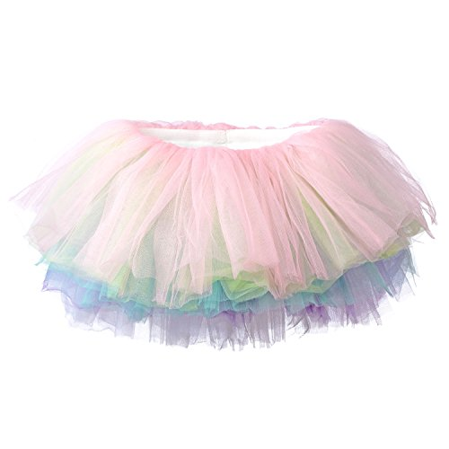 Toddler Pastel - My Lello Little Girls 10-Layer Short Ballet Tulle Tutu Skirt (4 mo. - 3T) -Soft Pastel