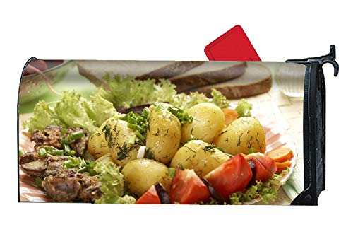 Potato Meat Tomato Salad Fennel Greens Bread Magnetic Mailbox Cover, Decorative Garden Outdoor Customized Mailbox Wrap Standard