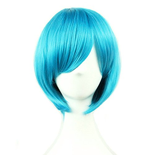 (Short Blue Bob Wigs Straight Wigs with Bangs for Women Girls 11 Inch BU029)