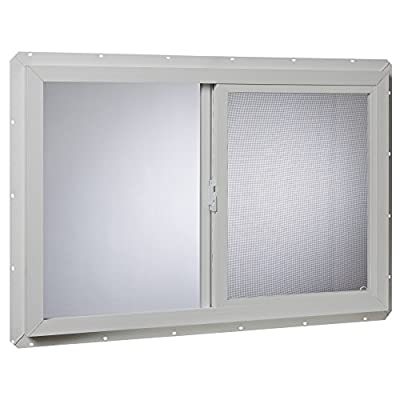 Park Ridge VUS3624PR Vinyl Utility Slider Single Glass Window 36 Inch x 24 Inch, White