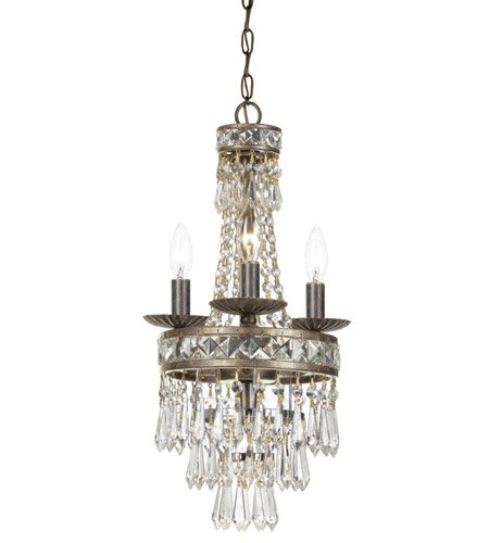 Crystorama Lighting 5263-EB-CL-MWP Chandelier with Hand Polished Crystals, English Bronze