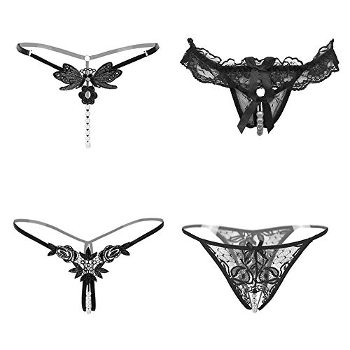 fa14f78a122b Nightaste Women's Lace G-String Thong Panties Assorted Cute T-Back Tanga  Lingerie Underwear