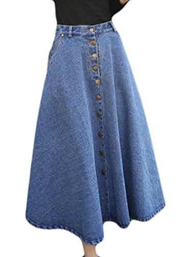 Pleated Denim Jacket (Nanquan-women clothes NQ Womens Fashion High Waist Pockets Pleated Buttons Swing Denim Skirts Light Blue S)