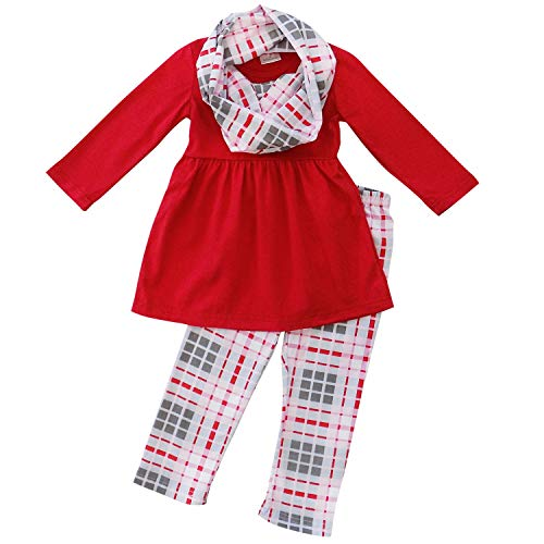 So Sydney Toddler Girls 3 Pc Valentine's or St. Patrick's Day Holiday Outfit & Infinity Scarf (5 (L), Pink Plaid) -