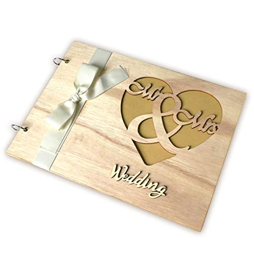 Price comparison product image liumiKK Personalized Guest Book Wooden Wedding Mr & Mrs Guestbooks Signature Message Rustic Wedding Gift for Couple