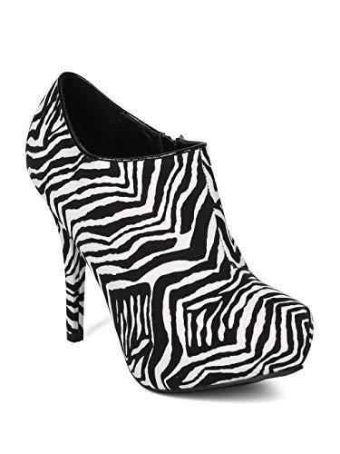 Women Velvet Animal Print Almond Toe Platform Stiletto Heel Bootie - IB03 - Black/White Faux Suede (Size: 7.0) (Boots Zebra Print)