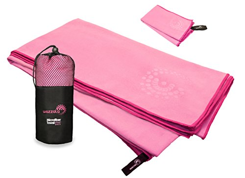 Wazzala Premium Microfiber Travel Towel for Camp, Sports & Outdoors. Hand, Face Towel & Mesh Bag. Quick Dry, Compact, Odourless. with Hook. 27 x 55 inches