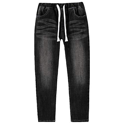 - Leo&Lily Big Boys Kids Husky Rib Waist Stretch Denim Jeans Pants (Jet Black, 10) LLB621