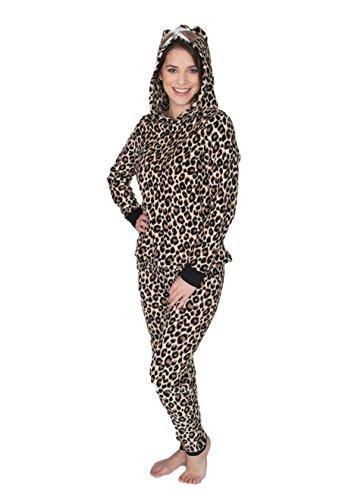 Fleece Print Pajama Set - Sleep & Co. Women's Fleece Hodded Long Sleeve Top and Pant Pajama Set Leopard Print Natural Medium