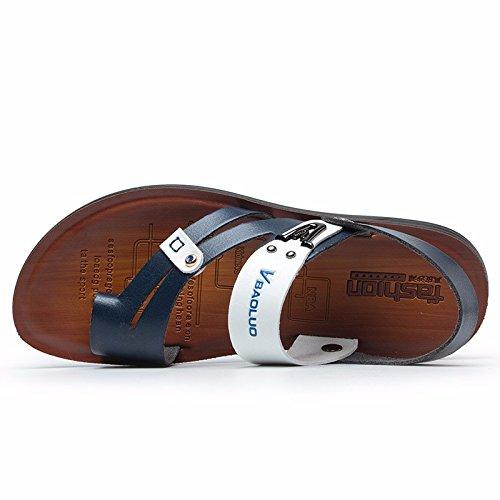Sommer Das neue Jugend Leder Sandalen Männer Flip Flops Schuh Rutschfest Sommer Trend Strandschuhe Sandalen ,blau,US=7?UK=6.5,EU=40?CN=40