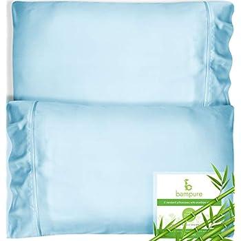Bamboo Pillowcase Queen Bamboo Pillow Case Queen Size (20x30) - 100% Organic Bamboo Large Pillow Cases Cooling Pillowcase Cooling Pillow Cases Queen Cool Pillow Cases Set of 2 Pillowcases Light Blue