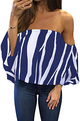- BLUETIME Women Off Shoulder Cute Loose Blouse Crop Tops Bell Sleeve Sexy Summer Chiffon Blouses (XL, Floral1)