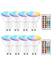 iLC LED GU10 kleur veranderende lamp, LED spots peer reflector lamp, 5W dimbaar warm wit (2700K) RGB LED-lamp, 200 lumen, afstandsbediening inbegrepen (8 stuks)