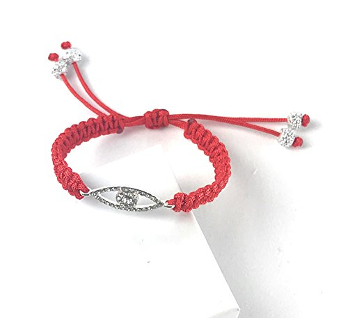 Lucky Kabbalah Red String Cord Amulet with Silver Evil Eye and Silver -