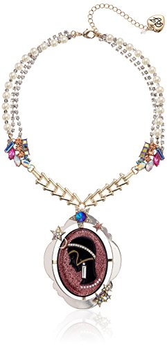 - Betsey Johnson Pink Cameo Pearl Pendant Necklace