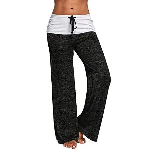 Comodo Pants Baggy Casuale Pantalone Yoga Tempo Donna Nero Moda Con Pantalone Pantaloni Costume Femminile Colori Larghi Lunga Tuta Coulisse Base Elegante Pantaloni Libero Solidi Primaverile Ewn1A8q0