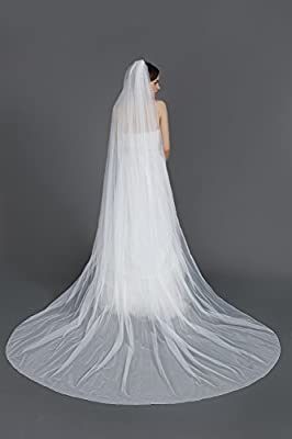 """Wedding Bridal Veil with Comb 1 Tier Pencil Edge Cathedral Length 118"""""""