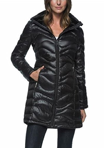 Andrew Marc Women's Long Length Down Puffer Jacket with Hood Black Small by Andrew Marc
