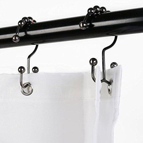 Shower Curtain Hooks, Double Shower Curtain Rings Stainless Steel Rustproof  Metal Double Glide Shower Hooks