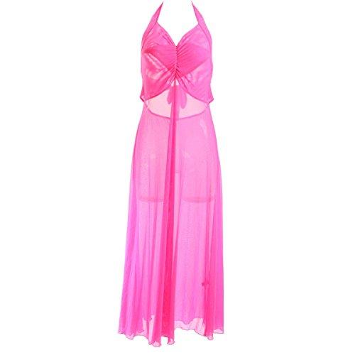 Damas De Encaje De Lujo De Lujo Apoyos Falda Larga Salto De Cama Pink