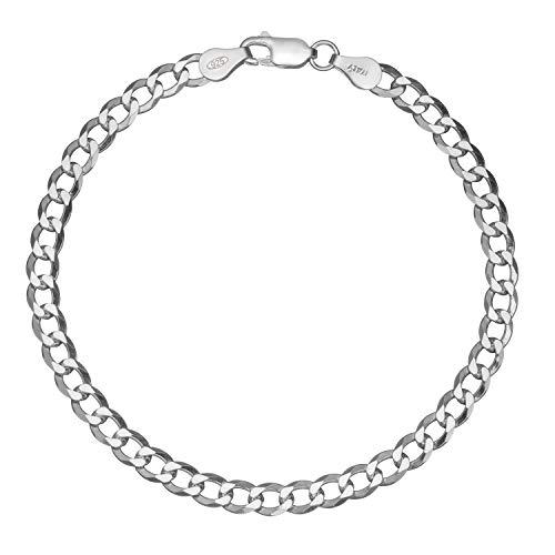 Solid 925 Sterling Silver Men's Italian 4.5mm Cuban Curb Link Chain Bracelet - 7