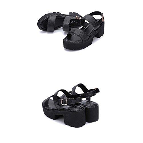 SHEO sandalias de tacón alto La señora apuntó la hebilla hueco del ante con los zapatos de tacón alto Negro