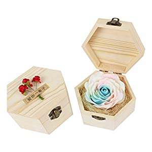 chuwa Creative Artificial Flowers Roses Flower Petal with Wood Box -Wedding Party Decoration Favor 118