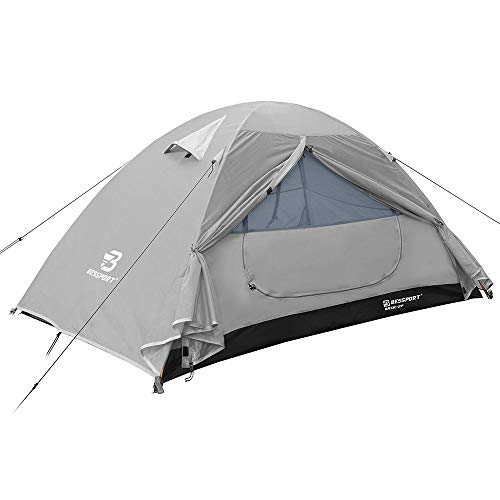 Bessport Backpacking Tent 1-2 Person Ultralight Camping Tent Waterproof Two Doors Tent Instant Setup - Less Than 1 Min for Camping, Hiking Mountaineering Expeditions (2P-Light Grey)