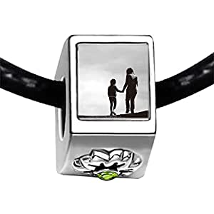 Chicforest Silver Plated the back of mom and kid Photo Peridot Crystal August Birthstone Flower Charm Beads Fits Pandora Bracelet