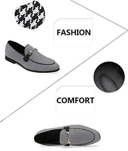 Casual Swallow Mens Metal Moccasins Santimon Shoes Black Classical Loafer Slipper Dress Buckle Gird Smoking q1xvfw