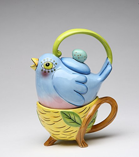 Bird Fancy (Cosmos Gifts 61910 Fine Ceramic Flights Of Fancy: Bluebird Bird in Nest Tea for One (Teapot with Tea Cup) Set by Babs, 7