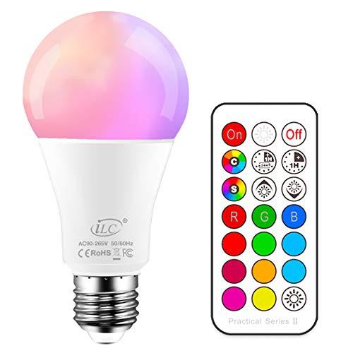 iLC Gekleurde lamp LED RGBW lamp dimbare gekleurde lamp lamp 10W E27 Edison RGB LED lampen – Dual Memory – 12 kleuren…