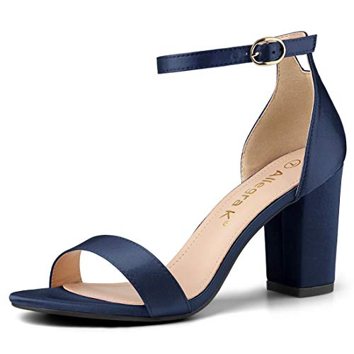 Allegra K Women's Satin Ankle Strap Chunky Heels Blue Sandals - 5.5 M US