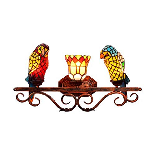 Oil Flo 141 - European Retro Tiffany Wall Lamp, Exquisite Stained Glass Creative Parrot Design, Living Room Bedroom Beautiful Decorative Lighting Light