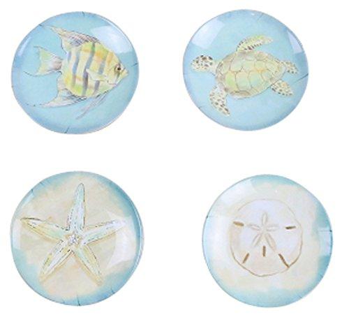 4-Piece Dinner Plate Set Reusable Hard Plastic Dessert Plate Aquatic Creatures