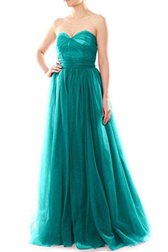 Sweetheart Bridesmaid Dress Tulle Turquoise Long Party Wedding Convertible MACloth Women 68TSqTE