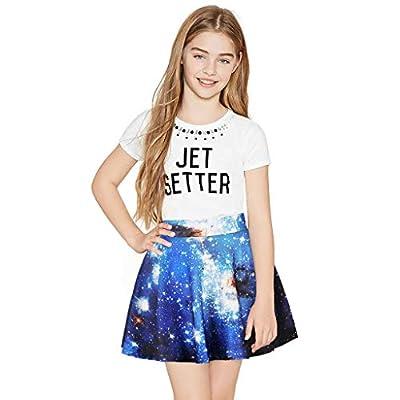 NUWFOR Toddler Kids Girl Galaxy 3D Digital Printing Princess Casual Pleated Tutu Skirt