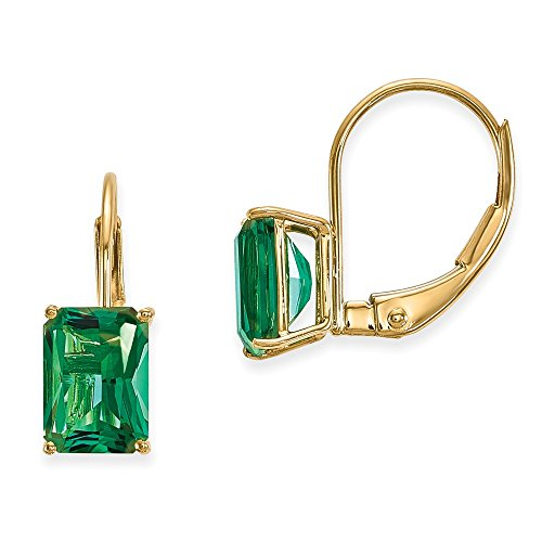 14k Yellow Gold 0.6IN Long 7x5mm Created Emerald Mount St. Helens Earrings 14k Yellow Gold Mount