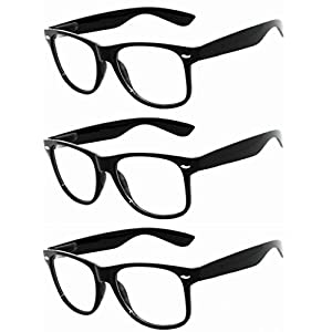 OWL - Non Prescription Glasses - Clear Lens Black Frame - UV Protection (3 Pack)