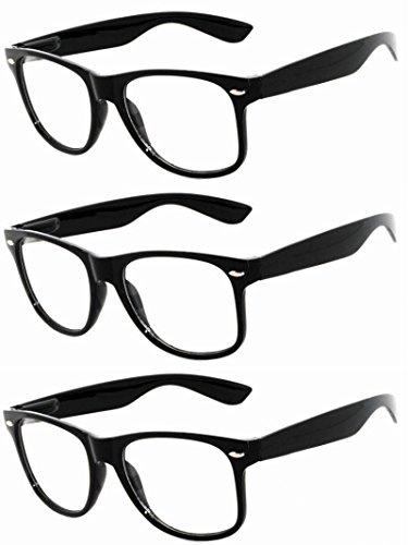 OWL - Non Prescription Glasses - Clear Lens Black Frame - UV Protection (3 - Nerd Black Big Glasses Frame